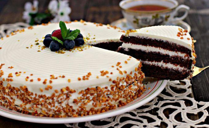 торт со сметаной и сгущенкой