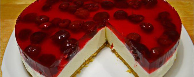 Творожно-желейный торт без выпечки