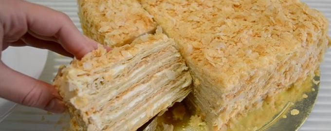 Торт из готового слоенного теста