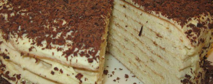 торт на сковороде со сметанным кремом